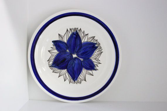 Rorstrand Pontus MINT plate blue and white by VintageDesignTreats