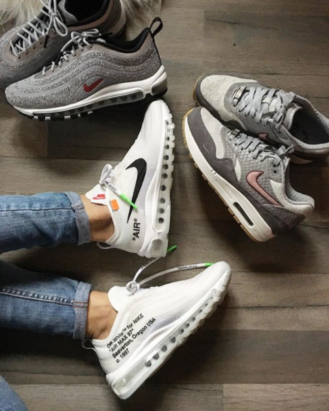 Off-white x NIKE AIR MAX 97   Nike air max 97 LX Swarovski Crystal Silver  Bullet   Nike air max 1 all available at our online store www.kicksvogue.net 8d1428face