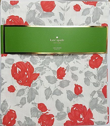 kate spade garden rose table runner 100 cotton grey coral 15 rh pinterest com