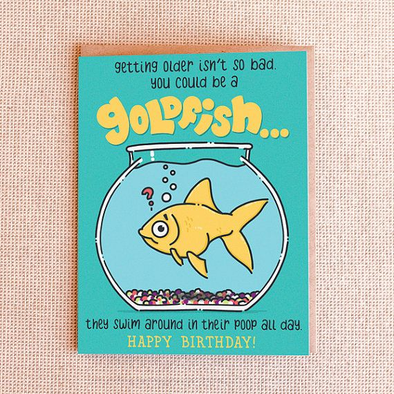 Funny Birthday Card You Could Be A Goldfish By PaperFreckles