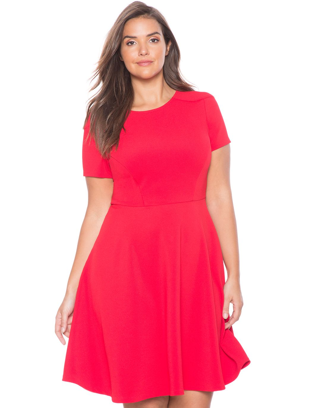 Textured Circle Dress Red