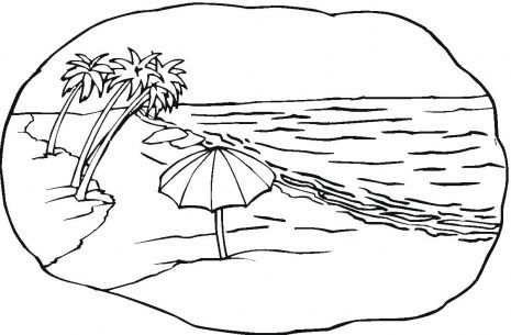Tropical Beach Vacation Adult Coloring Page By