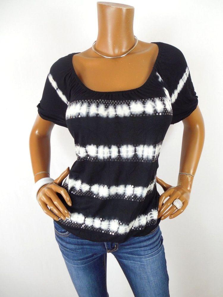 INC Womens Top L Tie Dye Shirt Black White Casual Blouse Short Sleeves  Stripes  INCInternationalConcepts  Blouse  Casual 961df2dc3