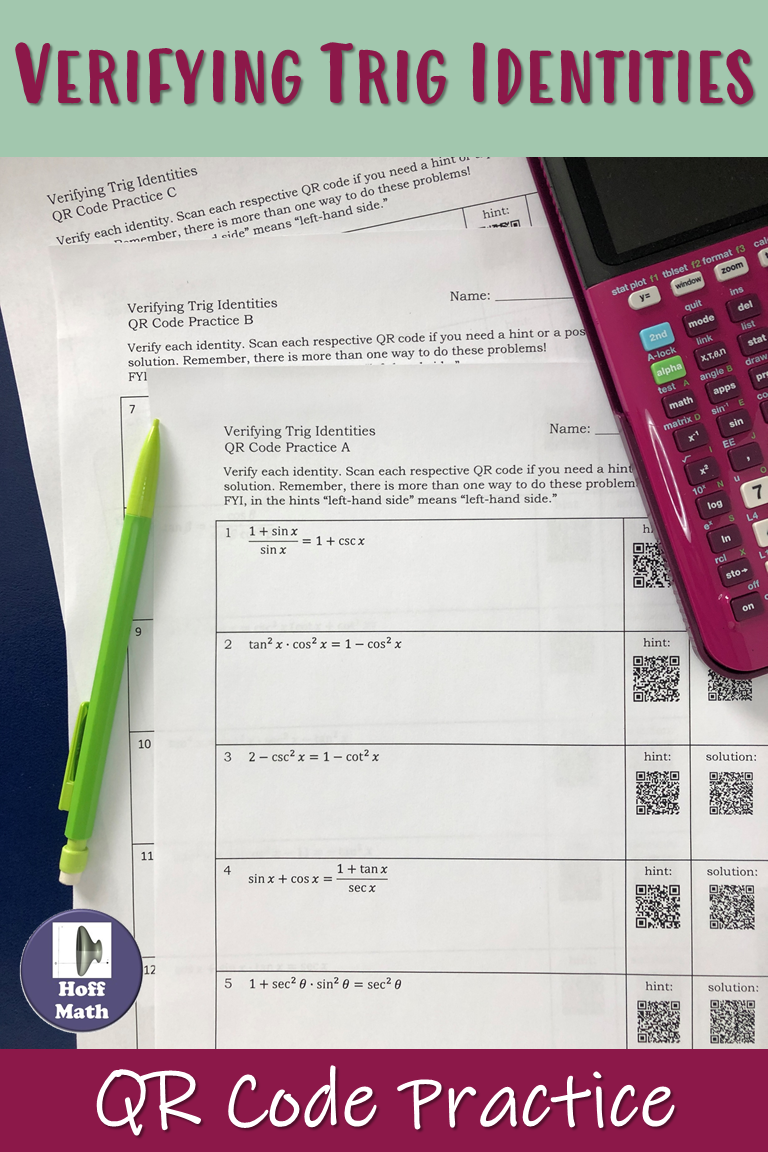 Verifying Trigonometric Identities Practice With Qr Codes Math Graphic Organizers Math Notebooks Framed Words [ 1152 x 768 Pixel ]