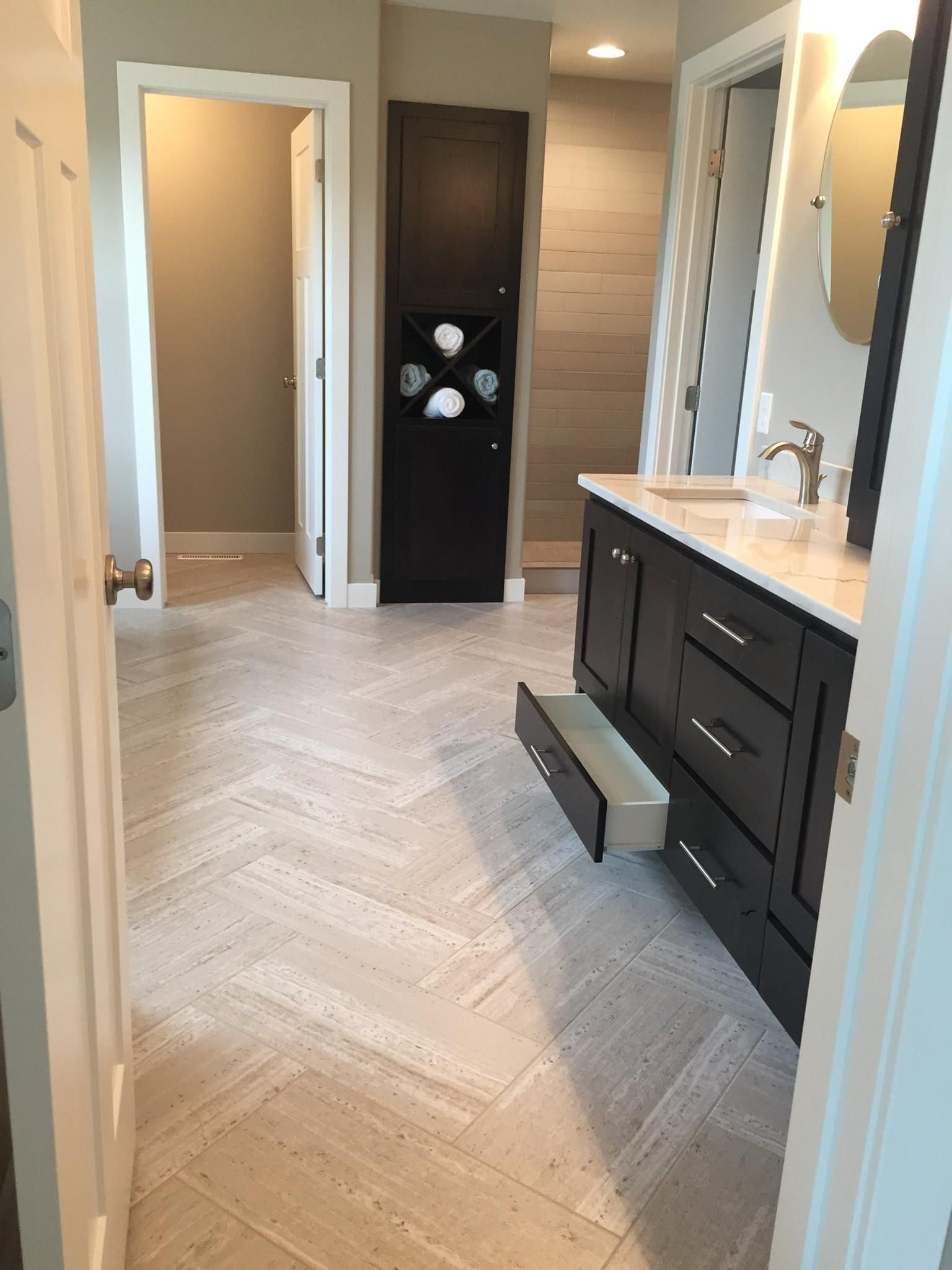 12 X 24 Vinyl Tile Laid In Herringbone Pattern Bathroom Floor Tiles Vinyl Flooring Tile Remodel