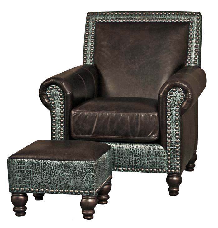 Gypsy Croco Western Chair Western Accent Chairs   Vintage Brown Leather Is  Trimmed With Blue