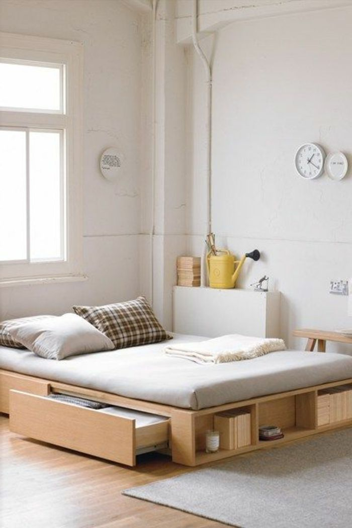 Où trouver votre lit avec tiroir de rangement? | Tapis beige, Lit ...