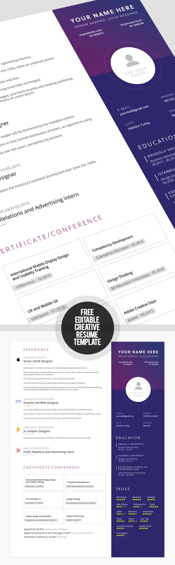 Free Fully Editable Creative Resume Template Free