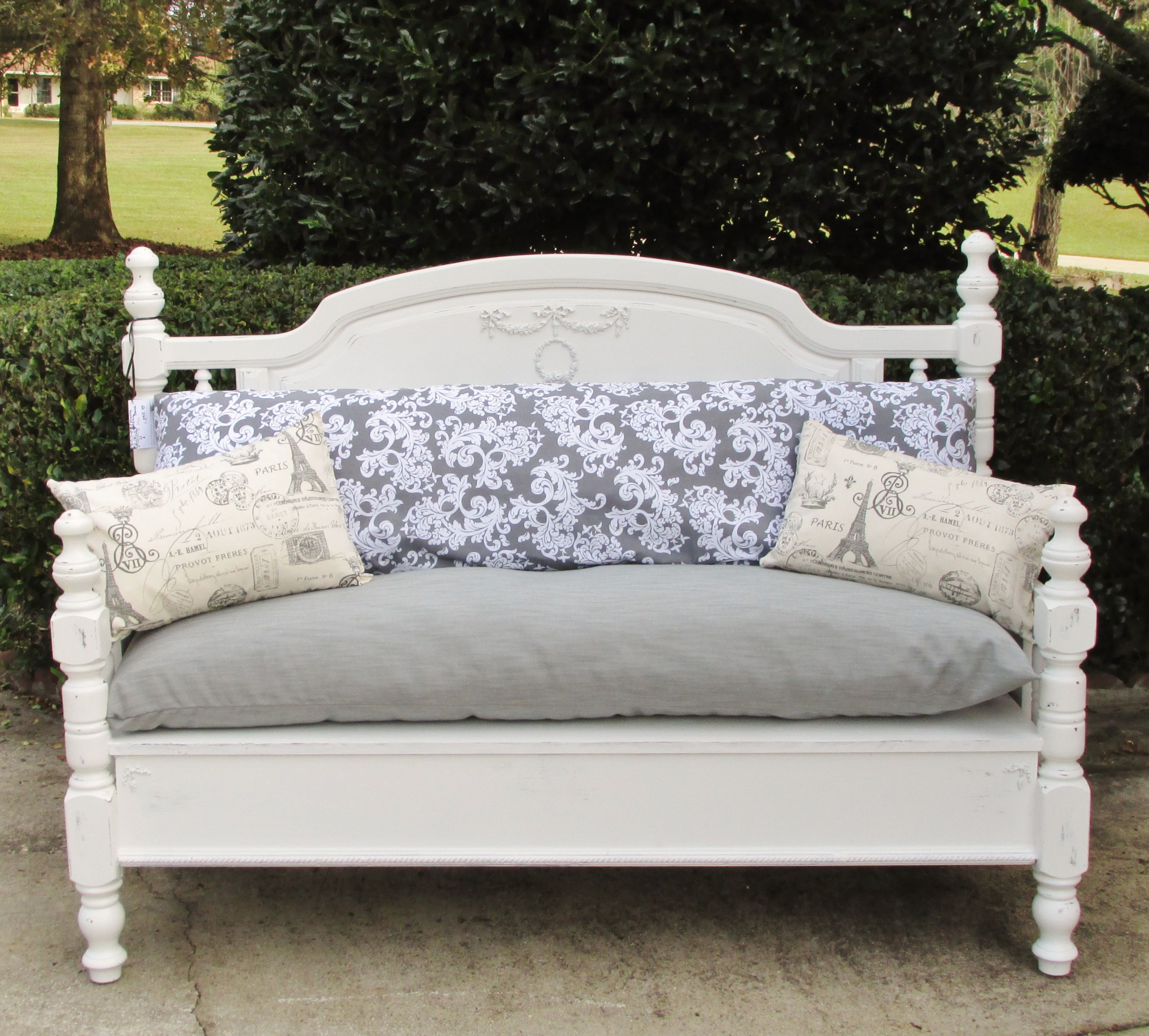Hand Made Shabby Chic Bench  Recycled From Old Headboard