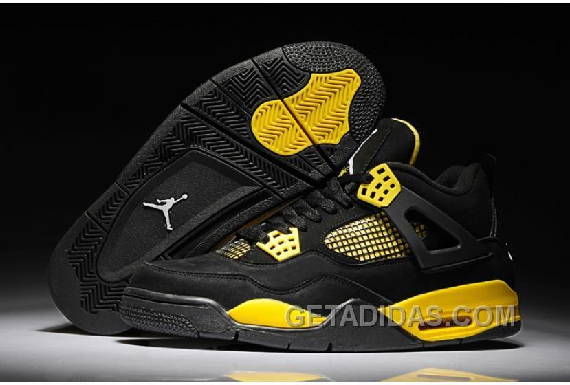 4b8f92bd1bbdd4 Air Jordan Shoes Air Jordan 4 Black Yellow Suede  Air Jordan 4 - July 2013  new arrivals. TheNike Air Jordan 4 has side ankle supports and innovative  molded ...