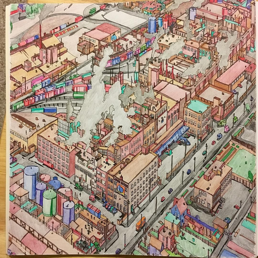 Colouring Pages Coloring Books Colored Pencils Adult Pens Cities Travel