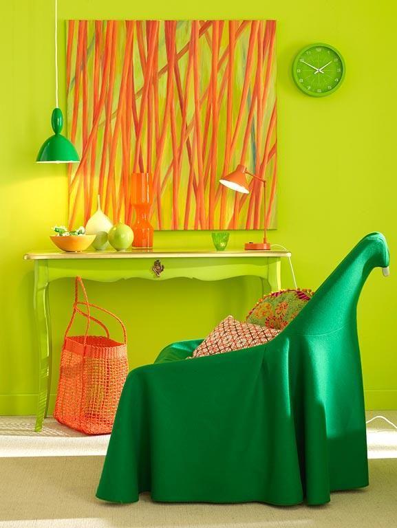Wohnen mit Farben - Wandfarben in kräftigen Farben Grün, grün - wohnzimmer grun orange