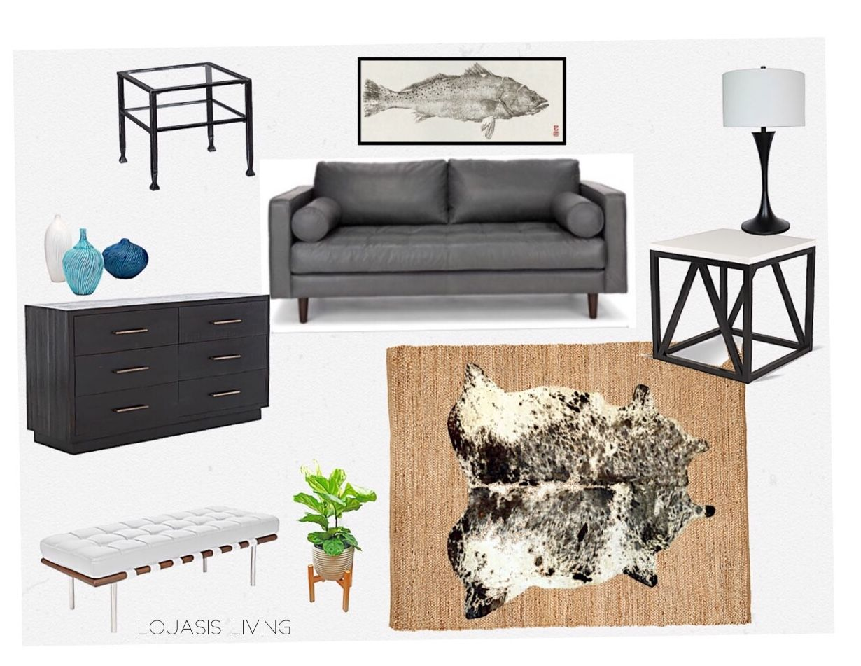 leather sven sofa in gray cowhide print and jute rug mid century rh pinterest com