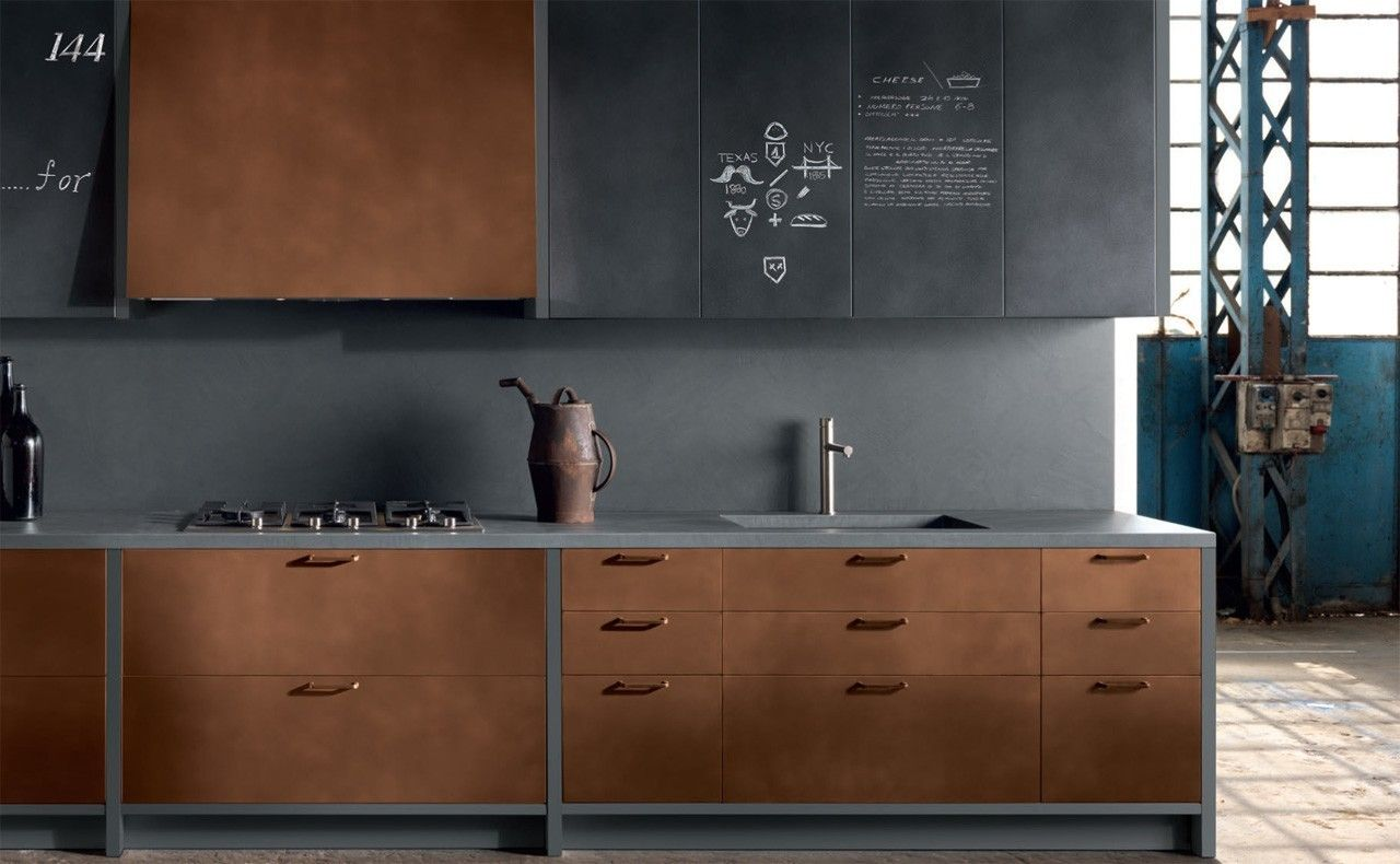 cuisine type industriel meuble cuivre bois brut