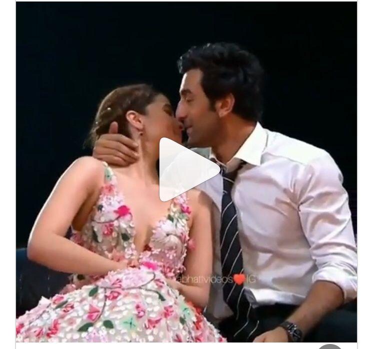 Watch Ranbir Kapoor And Alia Bhatt Almost Share A Liplock Kiss