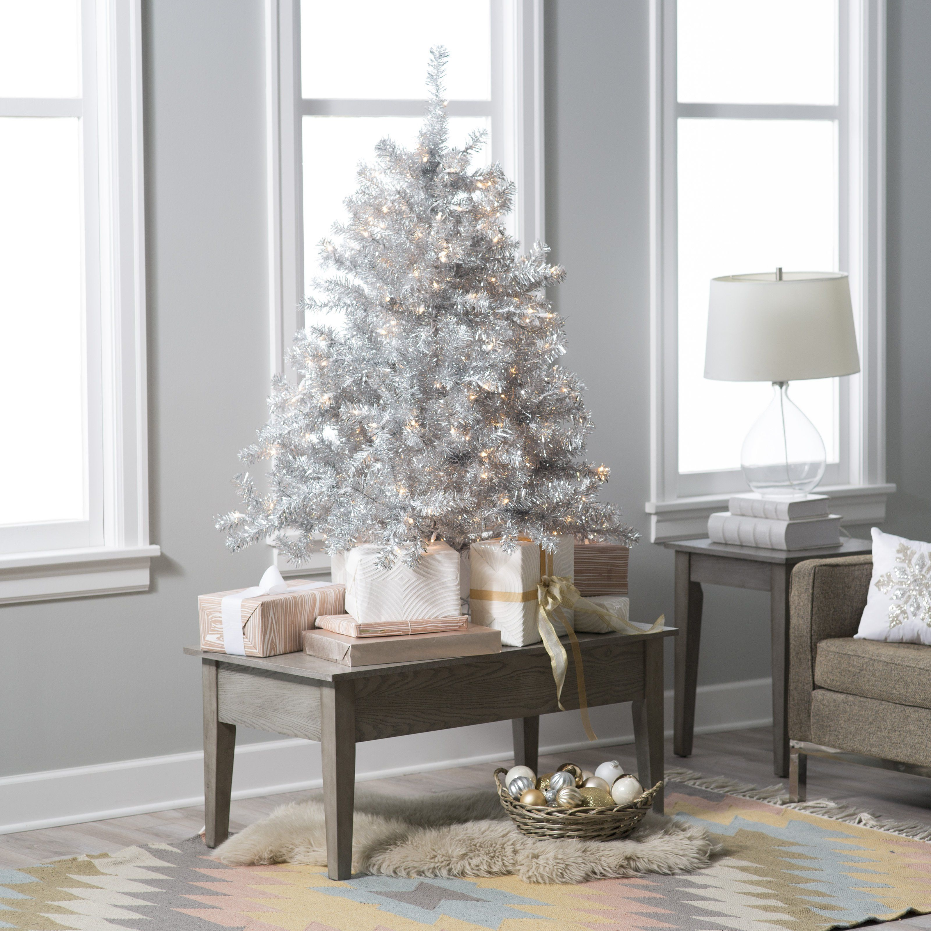 $130 - 4.5 ft. Classic Silver Clear Pre-Lit Full Tabletop Christmas ...