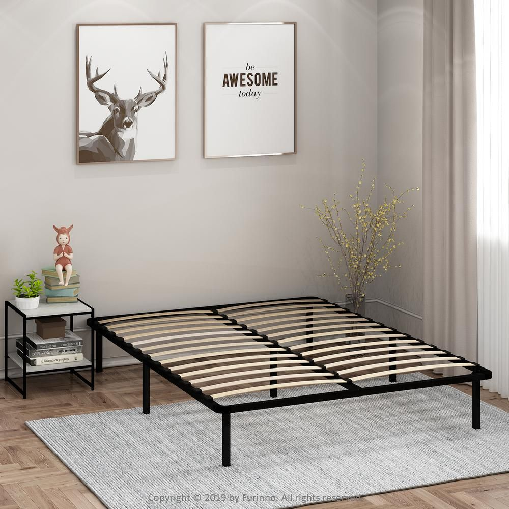 Furinno Angeland Cannet Full Wood Slats Metal Bed Frame Black In