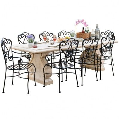 roman stone table 2600 with 8 manette dining chairs package 1 999 rh pinterest com