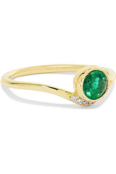 Wave 14-karat Gold, Emerald And Diamond Ring - 6 Jennie Kwon Designs