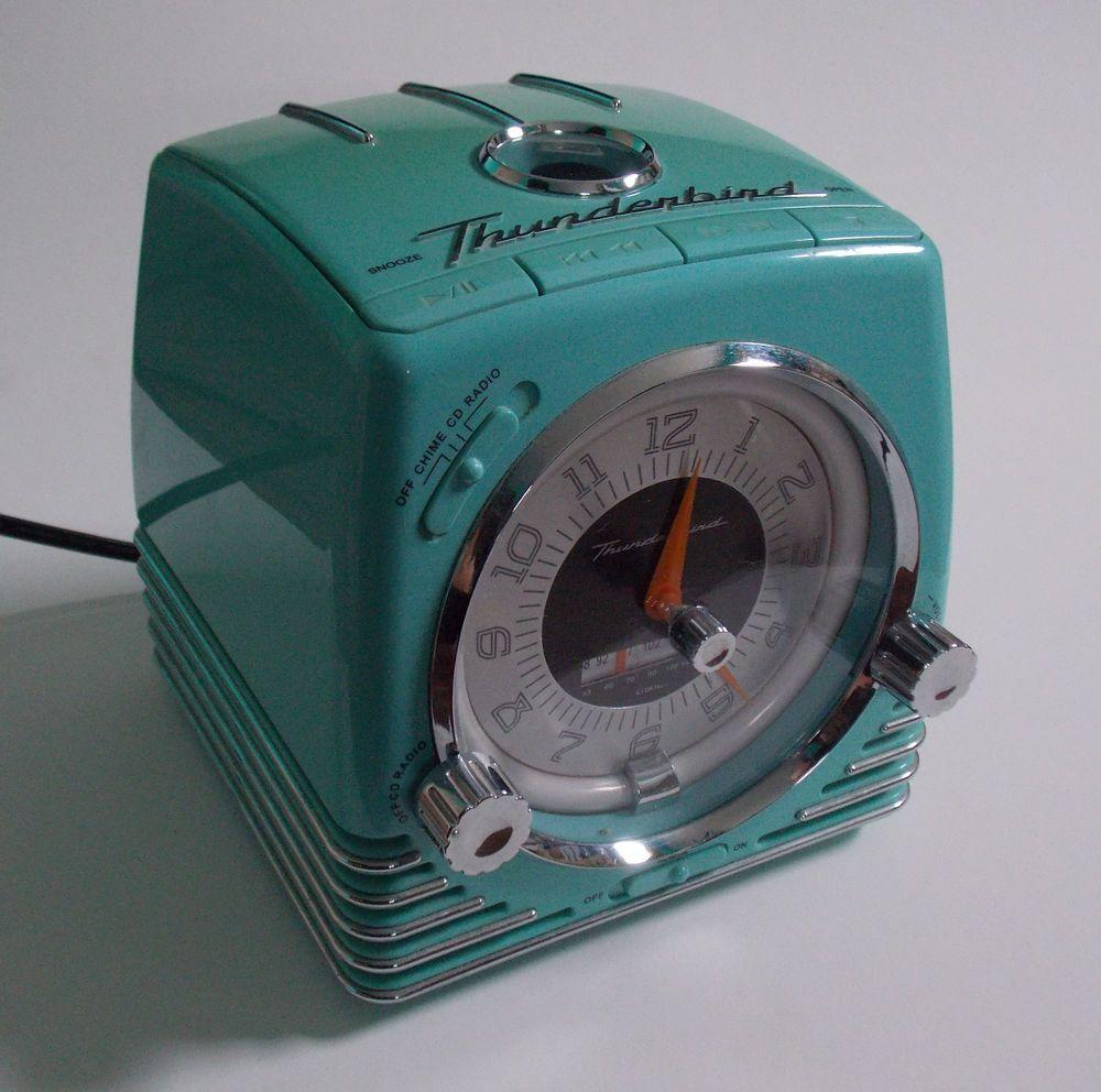Ford Thunderbird 50th Anniv. Aqua Retro CD-Player/Clock/Radio with ...