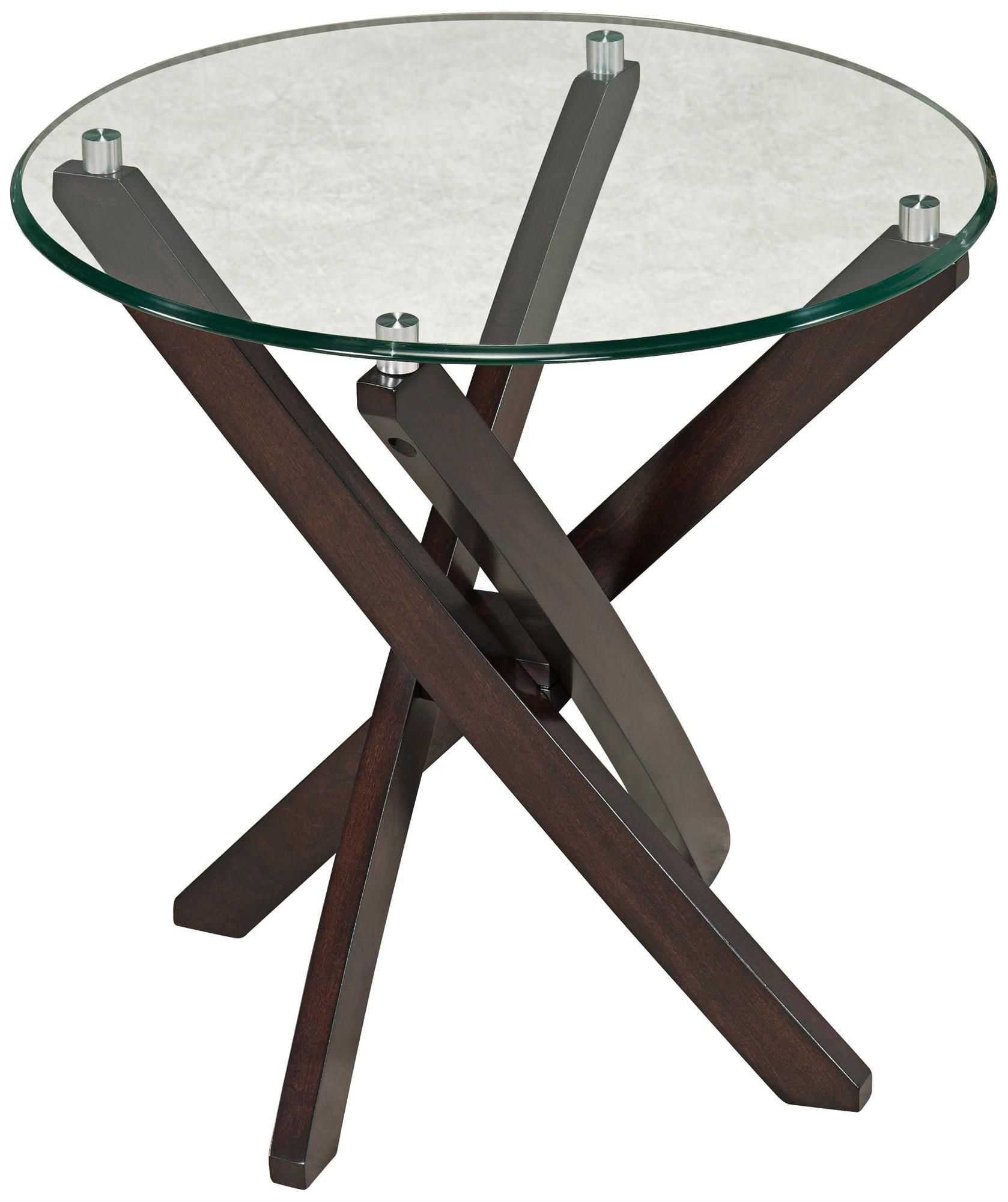 Xenia Round Wood and Glass End Table -
