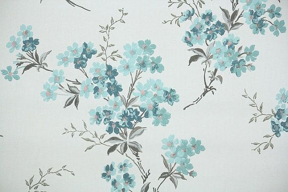 1940s Vintage Wallpaper By The Yard Floral Wallpaper With Branches Of Blue Flowers Vintage Floral Backgrounds Vintage Wallpaper Vintage Floral Wallpapers