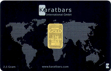 Lingote de 2,5 gramos de oro Karatbars