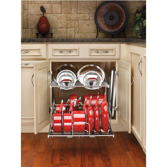 kitchen pan storage two tier pots pans and lids organizer for kitchen cabinet heavy. Black Bedroom Furniture Sets. Home Design Ideas