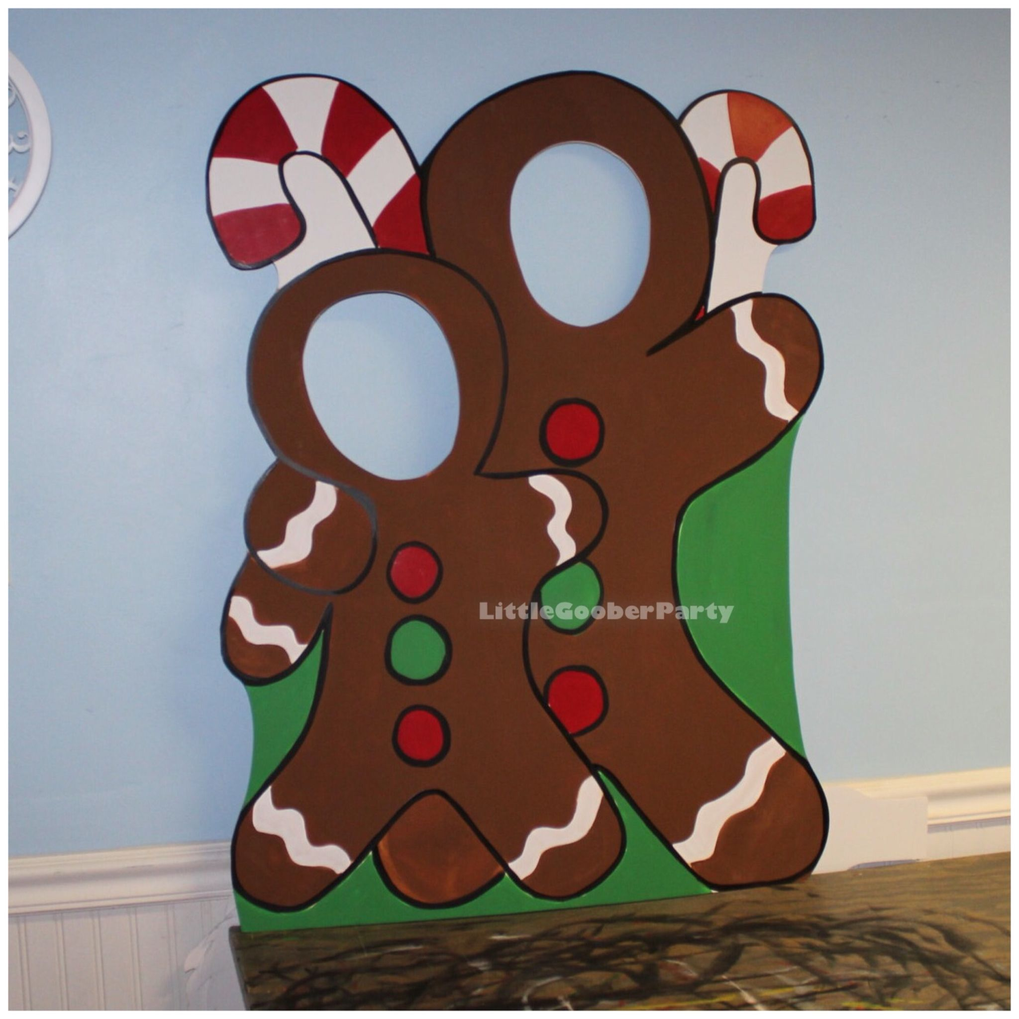 Gingerbread Wooden Photo Booth Prop Face In Hole Photo