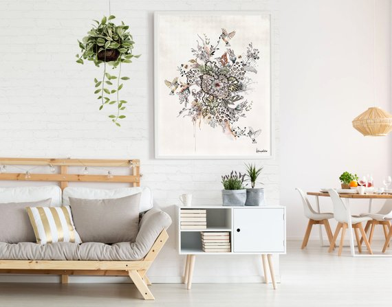 Floral Boho Wall Art Modern Painting Boho Home Decor Modern Etsy Small Apartment Decorating Living Room Small Apartment Living Room Living Room Decor Apartment