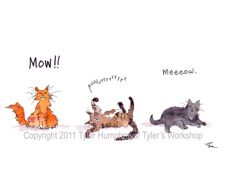 Funny Cat Card Cat Art Cats Greeting Card Funny Watercolor