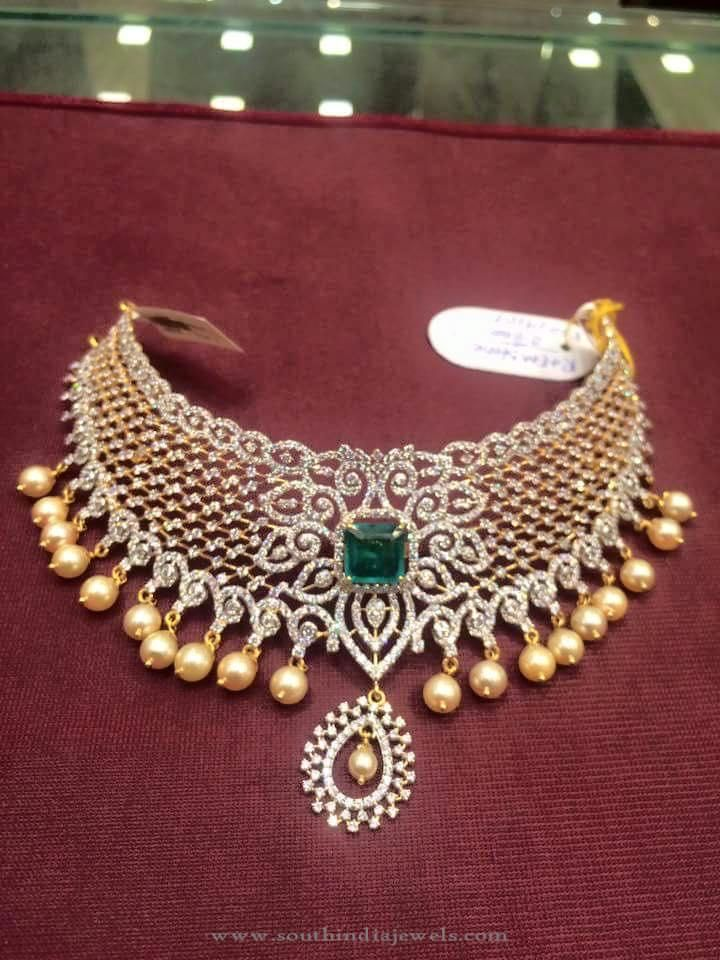 90 Grams Gold Cz Stone Choker South India Jewels Stone Choker Choker Designs Diamond Jewelry Designs