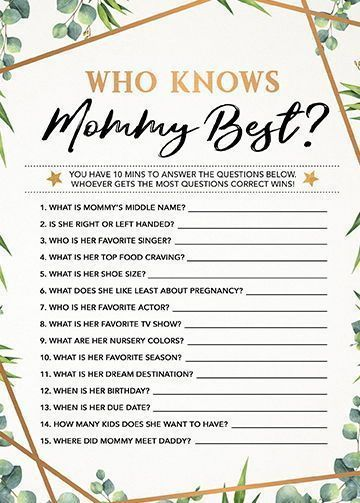 Photo of Who Knows Mommy Best, Baby Shower Game Printable, Baby Shower Instant Download, Gender Neutral Baby Shower Games, Greenery Baby Shower