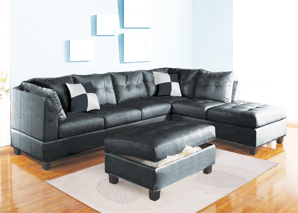 Black Faux Leather Sectional | Living Room Ideas | Black sectional ...