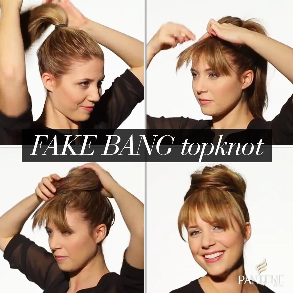 Fake Bangs Hairstyle Cool This Fake Bang Topknot Is Super Easy To Create Especially With The