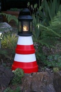 How to make a solar lighthouse (or a lighthouse with a candle) using terra cotta pots. Neat!