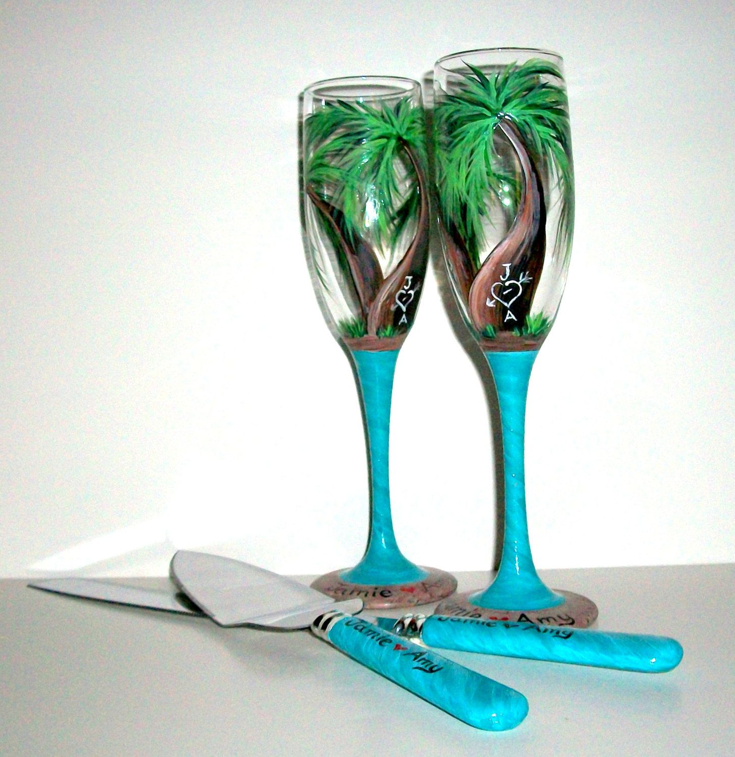 Wedding Glasses Hand Painted Champagne Flutes and Cake Knife and ...