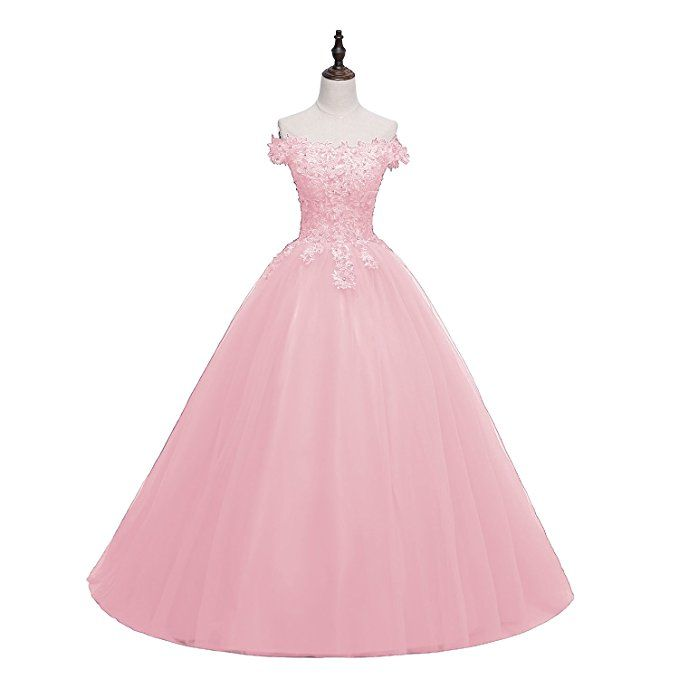 e4cab4d14a6 Pettus Women s Off-The-Shoulder Beads Lace Quinceanera Dresses Long Sequins  Tulle Formal Sweet 16 Prom Gowns with Free Hoop