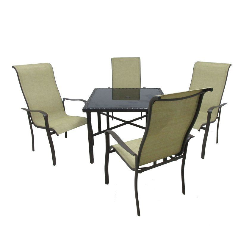Outdoor Innovation Pacifica Aluminum 5 Piece Glass Top Patio Dining Set - 42SQWV/4D PACIFICA