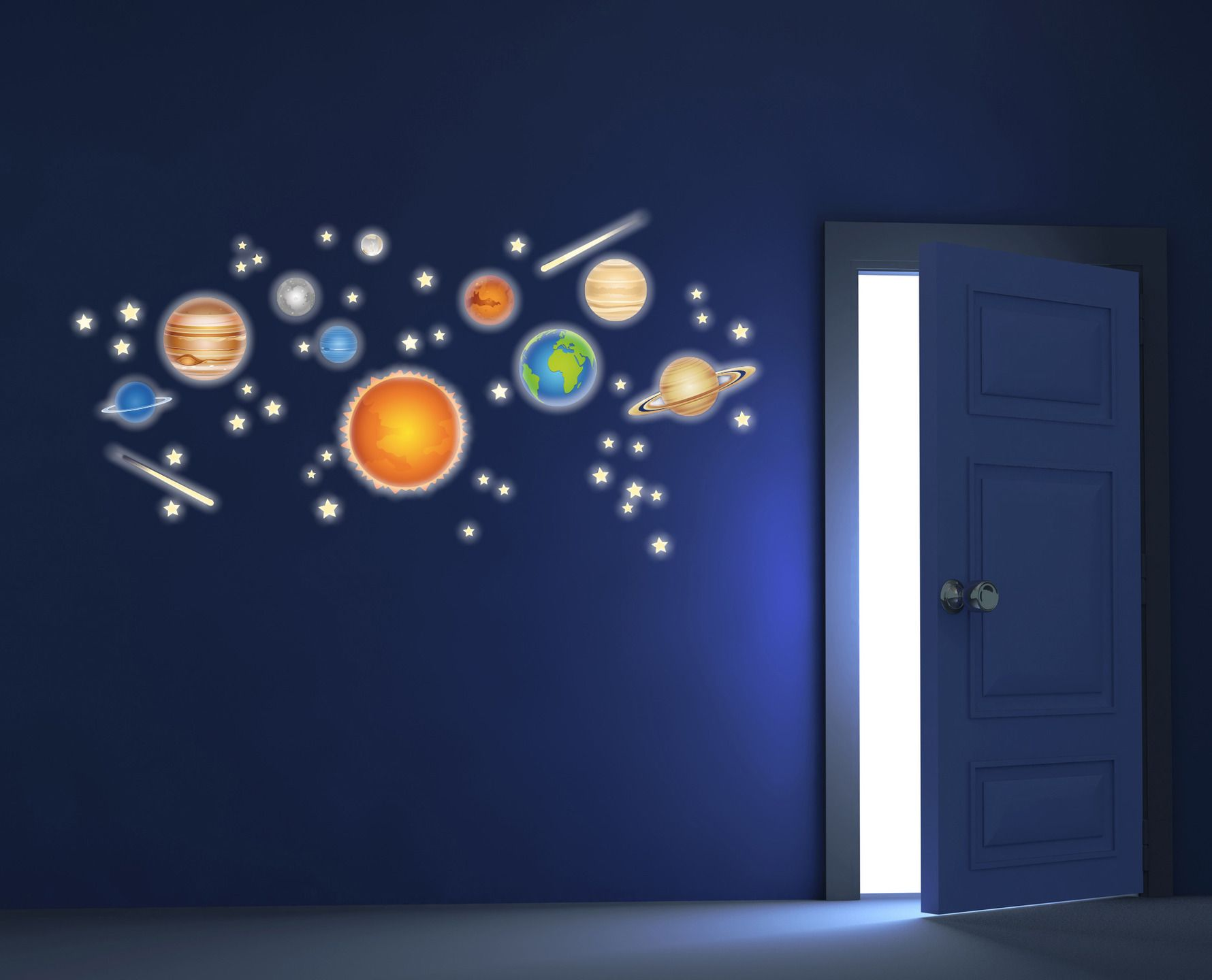 Pianeti sistema solare spazio adesivi murali fluo - Adesivi camera bimbi ...