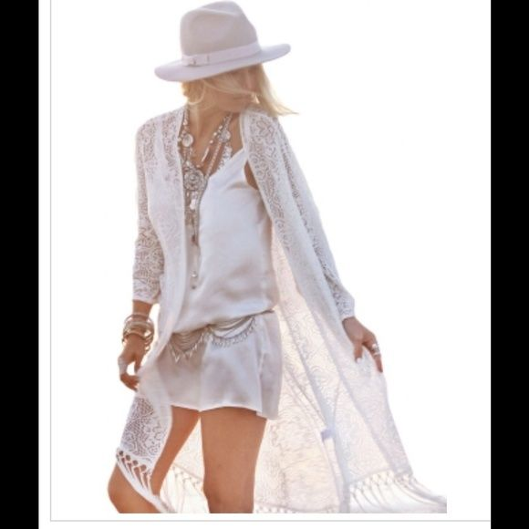 ❤️Long Lace Boho Kimono or Beach Cover in White❤️ Perfect statement piece for Spring Summer Feel gorgeous, stunning and free in this sexy, fun kimono. All boutique items are  satisfaction guaranteed or return it for a refund. Available February 24th.❤️Ask if qs. Other