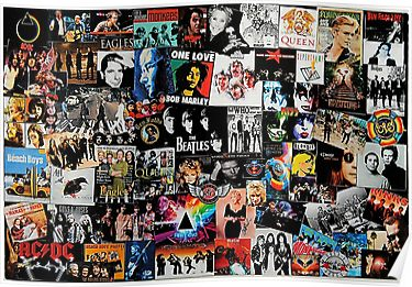 Rock Collage Poster Music Collage Collage Art Wall Collage
