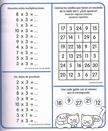 Ejercicios de las tablas de multiplicar educativo for De multiplication