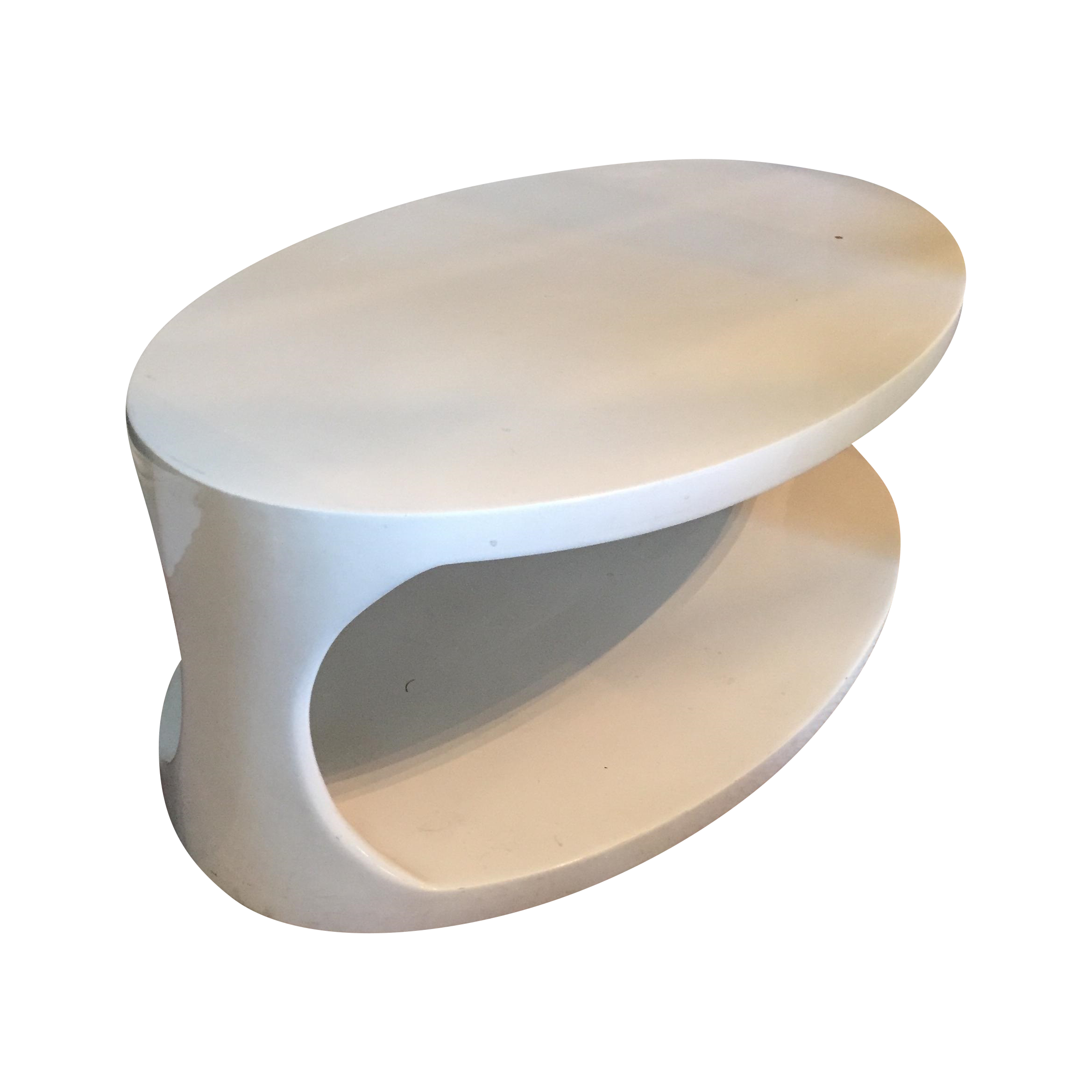 Eclipse Oval White Two Tier Cocktail Table on Chairish