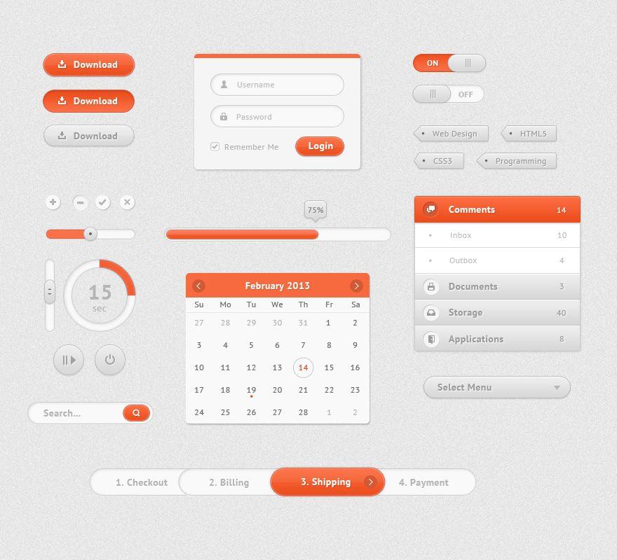 ui design web orange white clean ui ui kit ui design web design rh pinterest com