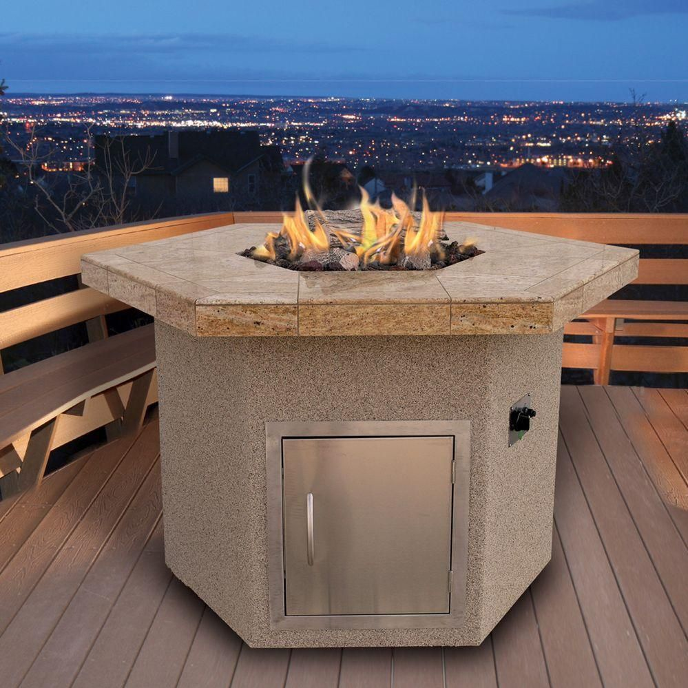 cal flame 48 propane gas fire pit table hexagon dining height rh pinterest com