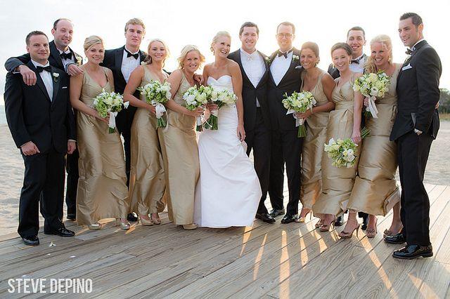 Wedding Bridal Party Beach Portraits Beige Bridesmaid Dresses Black
