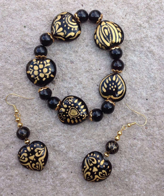 Heart of gold bracelet u earrings set by baddiebeads on etsy bags