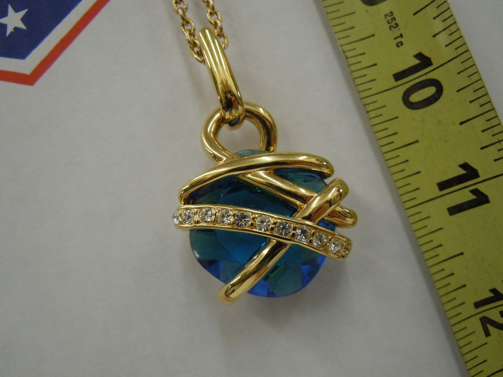 Kenneth Jay Lane KJL beautiful blue stone necklace pendant jewelry nice! #KennethJayLane