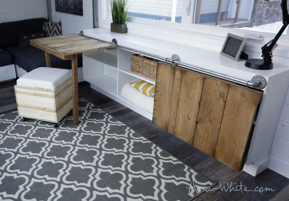 ana white sliding door console with fold up tables for tiny house rh pinterest com